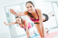 Sporty women doing pilates workout Stock Image