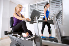 Sporty women exercising in gym. Stock Images
