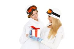 Sporty women with gift box. Royalty Free Stock Photos