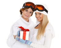 Sporty women with gift box. Stock Photo