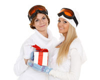 Sporty women with gift box. Stock Images