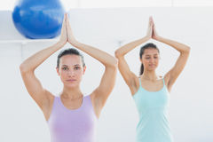 Sporty women with joined hands in fitness studio Stock Image