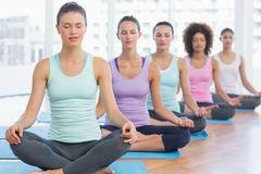 Sporty women in meditation pose with eyes closed Royalty Free Stock Photo