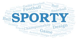 Sporty word cloud. Wordcloud made with text only vector illustration