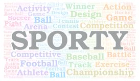 Sporty word cloud. Wordcloud made with text only stock illustration