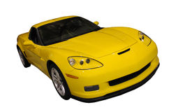 Sporty Yellow Car Isolated Over White. Front/side view of a sporty yellow car isolated over white Stock Images