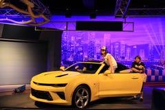 Sporty yellow Chevy Camaro on display Stock Photos