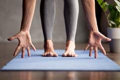 Sporty yogi woman practicing yoga, close up view stock photo