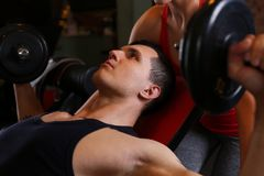 Sporty young couple work out together Stock Photo
