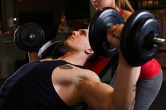 Sporty young couple work out together Stock Photos