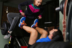 Sporty young couple work out together Royalty Free Stock Images