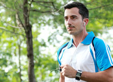 Sporty young man enjoy jogging outdoor workout Stock Images