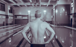 Sporty young man in the swimming pool preparing to swim , rear view Royalty Free Stock Photo