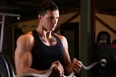 Sporty young man work out biceps Stock Image