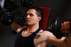 Sporty young man work out chest Royalty Free Stock Photo