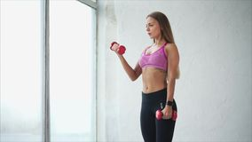 Sporty young woman with dumbbells on gray background. She lifting dumbbells stock video