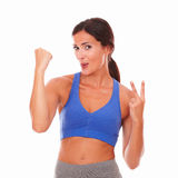 Sporty young woman feeling victoriously excited Stock Photo