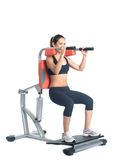 Sporty young woman on isodynamic exerciser Royalty Free Stock Images