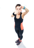 Sporty young woman making frame with fingers Royalty Free Stock Image