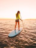 Sporty young woman at stand up paddle board with bright sunset colors. Sporty young woman at stand up paddle board with bright sunset Royalty Free Stock Images