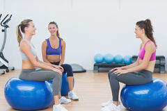 Sporty young women sitting on exercise balls Stock Photography