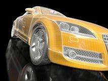 sportyellow för bil 3d Arkivfoton