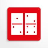 Sportzeichen dominoes Übersetzt Ikone Rotes und weißes Bild auf einem hellen Hintergrund mit einem Schatten lizenzfreie abbildung
