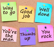 Sposób iść, Dobra praca, Dobrze robić słowa na notatkach Obraz Stock