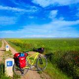 Sposób jechać na rowerze skorupę święty James podpisuje wewnątrz Palencia Zdjęcie Stock
