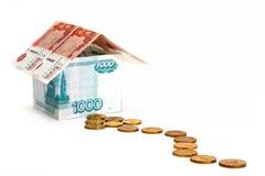 Sposób pieniądze dom fotografia stock