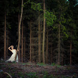 Sposa adorabile in una foresta Immagine Stock