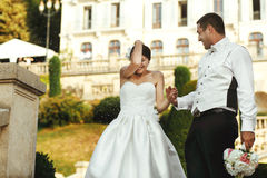 Sposa castana felice divertendosi con lo sposo bello Immagini Stock Libere da Diritti