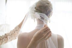 Sposa che indossa un velo Fotografia Stock Libera da Diritti