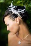Sposa che osserva giù Fotografia Stock