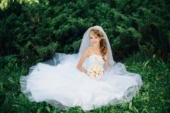 Sposa che si siede sull'erba verde al parco Fotografie Stock Libere da Diritti