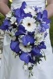 Sposa che tiene un bello mazzo dei fiori Immagini Stock