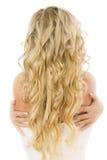 Sposa con capelli giusti lunghi dalla parte posteriore Fotografia Stock