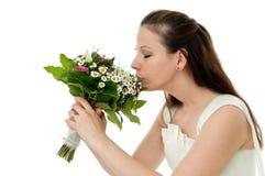 Sposa con il mazzo di cerimonia nuziale Fotografia Stock Libera da Diritti