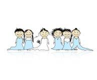 Sposa con le damigelle d'onore per il vostro disegno Fotografia Stock