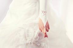 Sposa con le sue dita attraversate Fotografia Stock