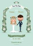 Sposa della carta dell'invito di nozze dei pantaloni a vita bassa & fumetto dello sposo Fotografia Stock Libera da Diritti