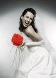 Sposa di Happe con il mazzo di rose Immagini Stock Libere da Diritti