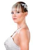 Sposa di Portarit in attrezzatura di cerimonia nuziale isolata su bianco Immagine Stock Libera da Diritti