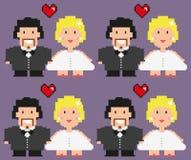 Sposa e grrom di Pixelated Immagini Stock