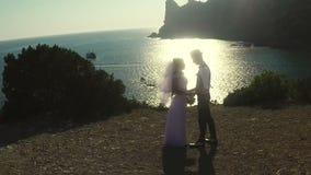 Sposa e sposo al mare stock footage