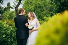 Sposa e sposo all'aperto su un giorno delle nozze Fotografia Stock