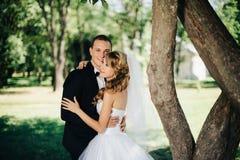 Sposa e sposo all'aperto su un giorno delle nozze in parco Fotografia Stock