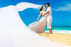 Sposa e sposo asiatici su una spiaggia tropicale Nozze e luna di miele Fotografia Stock Libera da Diritti