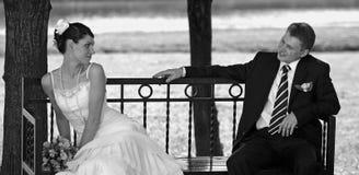 Sposa e sposo bianchi di cerimonia nuziale Immagine Stock Libera da Diritti