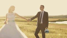Sposa e sposo che camminano al tramonto video d archivio